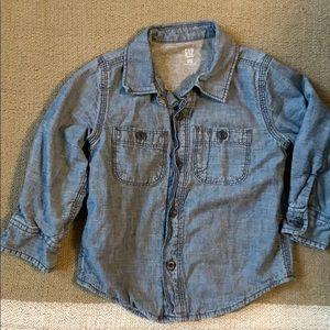 BABY GAP   Denim/ Jersey Lined Button Down Shirt